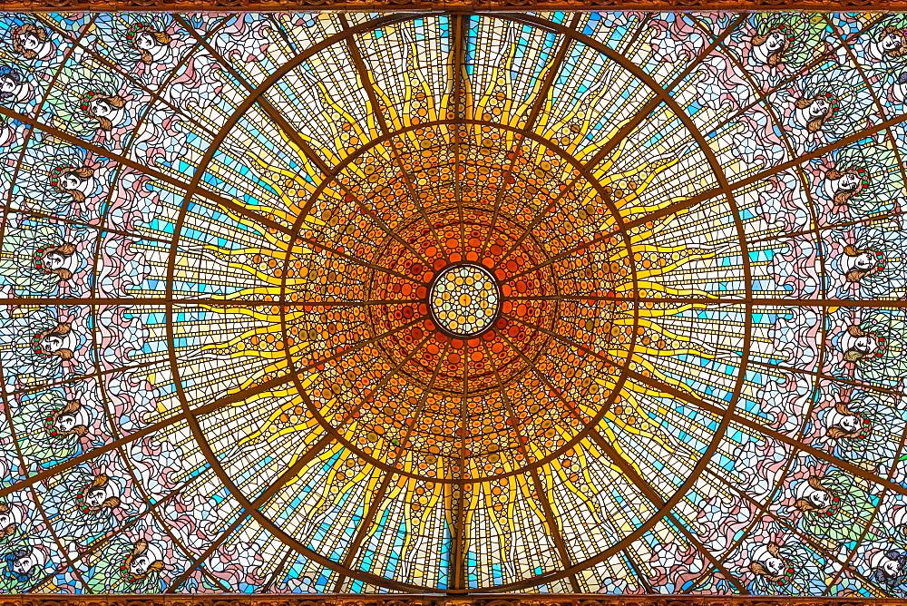 Stained glass skylight in Palace of Catalan Music (Palau de la Musica Catalana), Barcelona, Catalonia, Spain, Europe