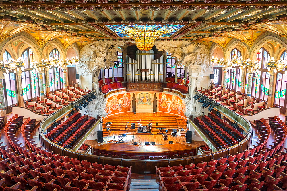 Interior views of Art Nouveau Concert hall, Palau de la Musica Catalana, Barcelona, Catalonia, Spain.