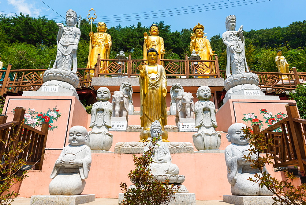 Statues at Buddhist temple in Busan, South Korea.