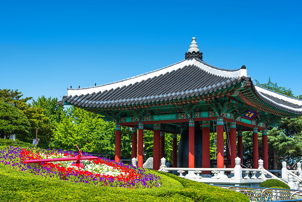 Citizen's Bell Pavilion with Flower clock, Yongdusan Park, Busan, South Korea, Asia.
