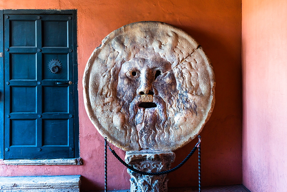 Bocca della Verita (Mouth of Truth), a marble mask at Santa Maria in Cosmedin church in Rome, Lazio, Italy, Europe