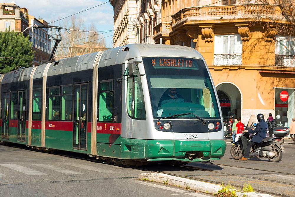 A modern tram on a Rome street, Rome, Lazio, Italy, Europe - 1267-246