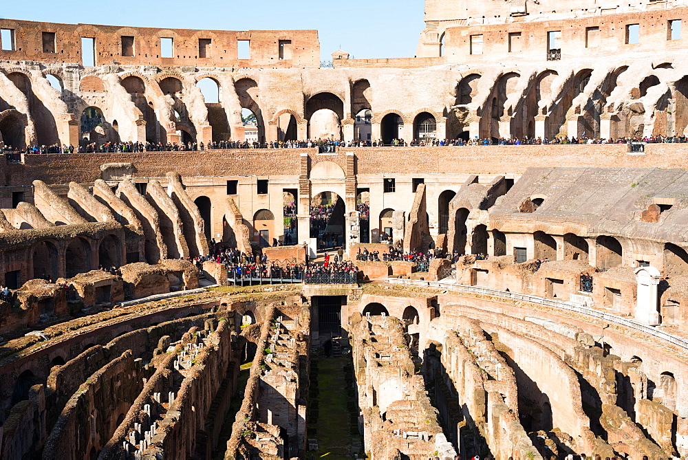 The Colosseum (Flavian Amphitheatre), with the below ground level hypogeum, UNESCO World Heritage Site, Rome, Lazio, Italy, Europe - 1267-289