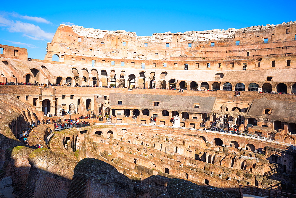 The Colosseum (Flavian Amphitheatre), with the below ground level hypogeum, UNESCO World Heritage Site, Rome, Lazio, Italy, Europe - 1267-290