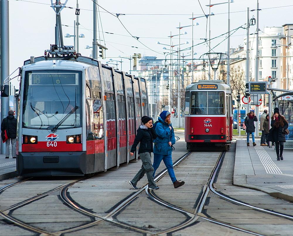 Trams on Wiedner GŸrtel near Hauptbahnhof, Vienna, Austria.