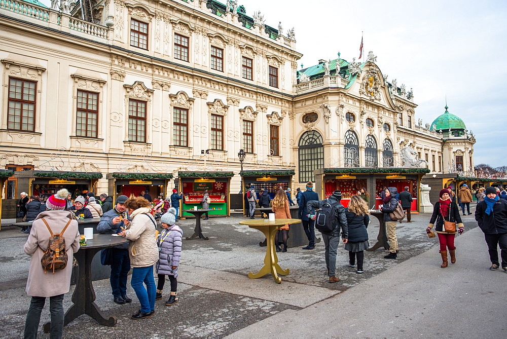 Christmas Market at Belvedere palace, Vienna, Austria.
