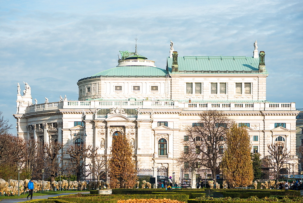 Volksgarten (People's Garden) public park with historic Burgtheater (Austrian National Theatre), Vienna, Austria, Europe