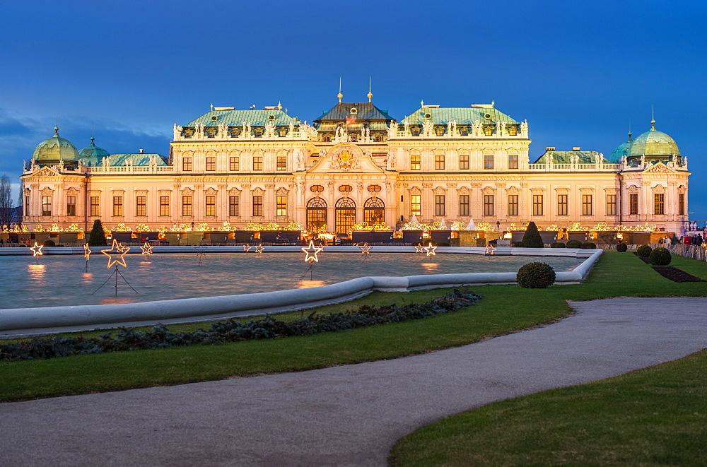 Lower Belvedere Palace at Christmas, UNESCO World Heritage Site, Vienna, Austria.