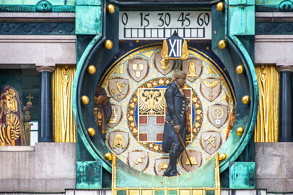 Ankeruhr (Anker clock) at Hohen Markt square, famous astronomical clock built by Franz von Matsch, Vienna, Austria, Europe