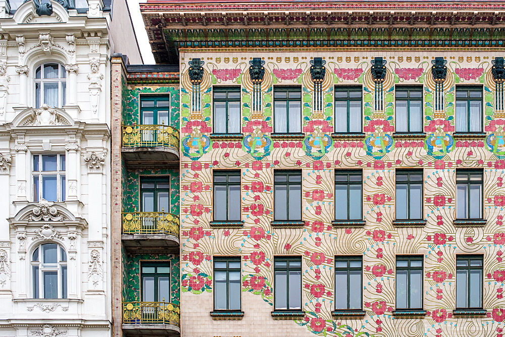 The Art Nouveau facade of the Majolikahaus opposite Naschmarkt market, Vienna, Austria, Europe