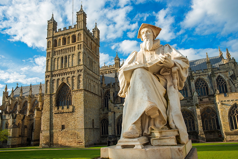 Exeter Cathedral with statue of Richard Hooker, Devon, England, United Kingdom, Europe - 1267-439
