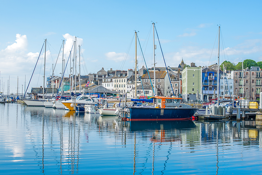 Boats in Sutton Harbour Marina, The Barbican, Plymouth, Devon, England, United Kingdom, Europe - 1267-453