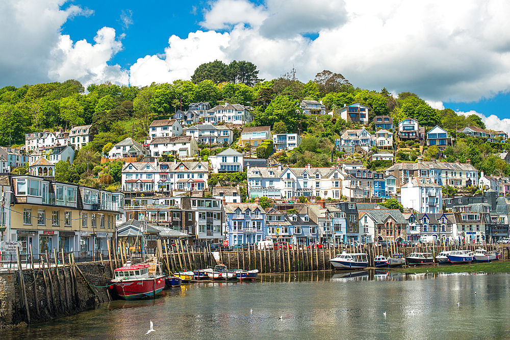 The small coastal town of Looe with hillside houses. Cornwall, UK.