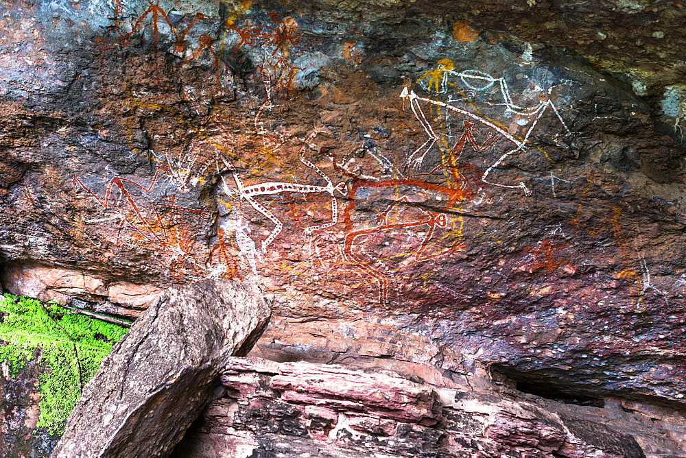 Indigenous rock art at Nourlangie. Kakadu National Park, Northern Territory, Australia.