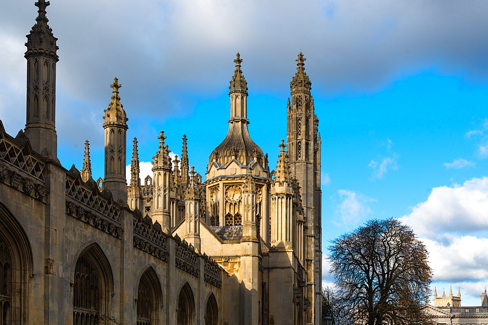 Kings College spires and main gate, Cambridge University, Cambridge, Cambridgeshire, England, United Kingdom, Europe