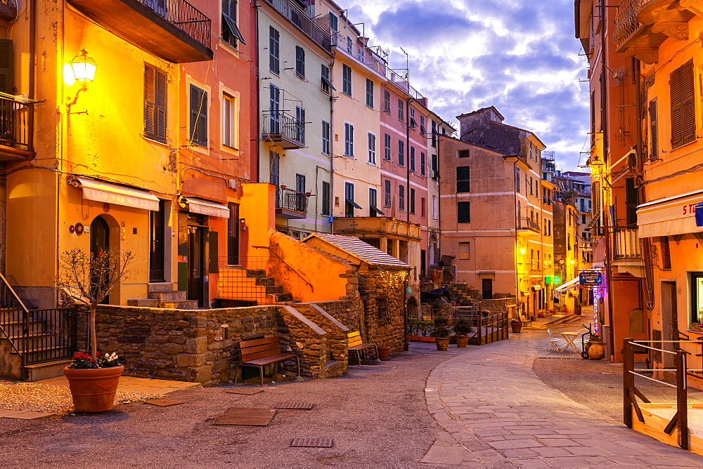 Main street of Vernazza at twilight, Cinque Terre, UNESCO World Heritage Site, Liguria, Italy, Europe