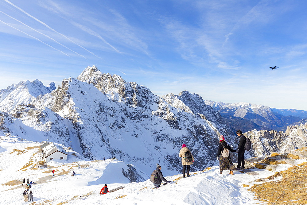 Tourists descends from Hafelekar peak, the top of ski resorts of Innsbruck, Tyrol, Austria, Europe