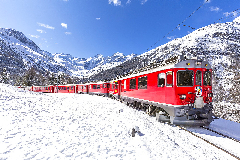 Bernina Express , Canton of Graubunden, Switzerland, Europe.
