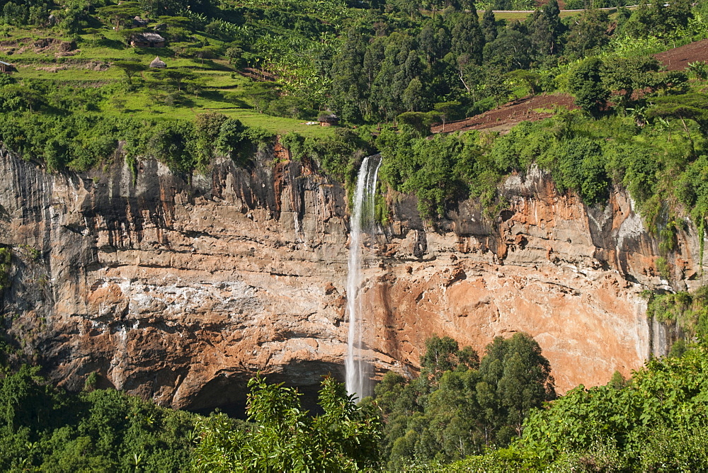 A view down on Sipi Falls in Eastern Uganda, Uganda, Africa