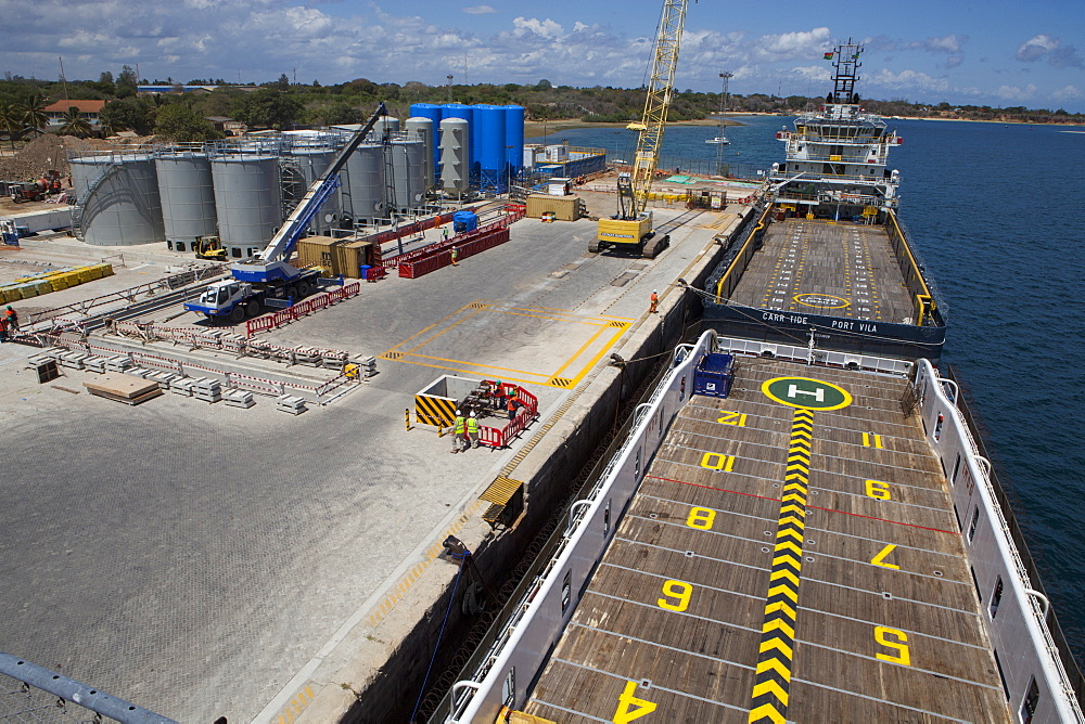 An aerial view of the ships docked at Mtwara port. - 1270-120