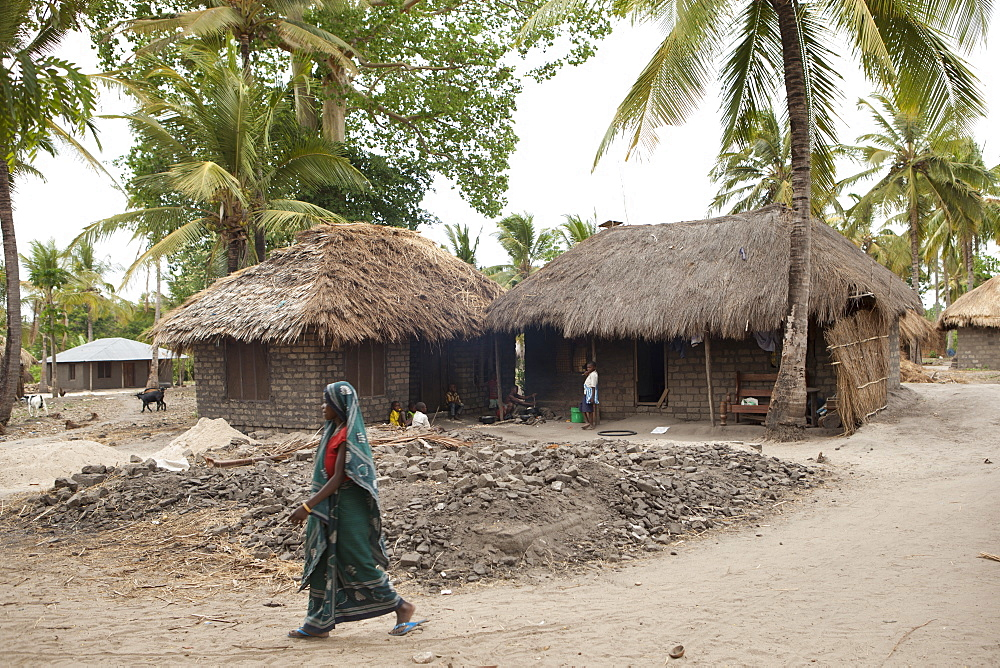 A woman walks past a traditional mud hut home with a solar panel on the top of it, Tanzania, East Africa, Africa - 1270-125
