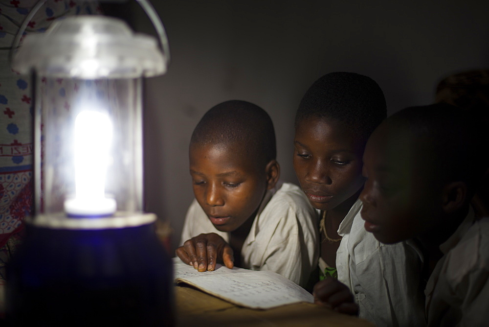 A group of boys read their homework by the light of a solar lantern, Tanzania, East Africa, Africa - 1270-132