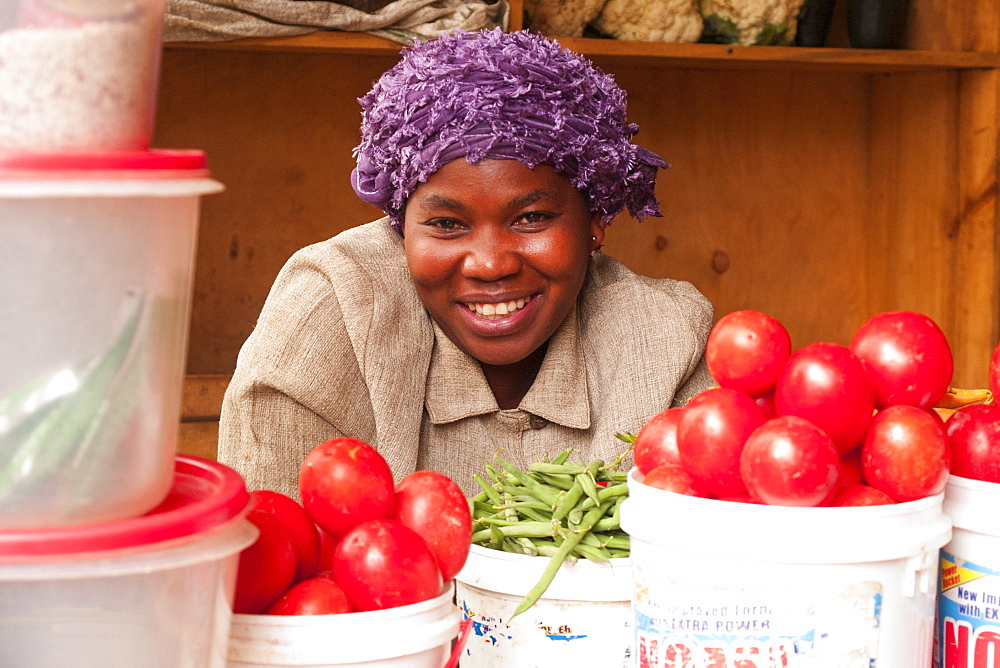 A lady selling vegetables in Kigali, Rwanda, Africa - 1270-140