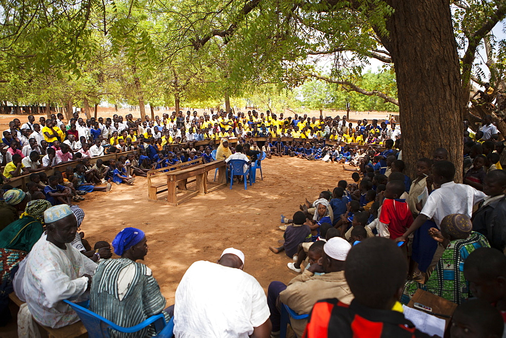 Students at a junior High School watch a play about teenage pregnancy put on by the schools Gender Club.
