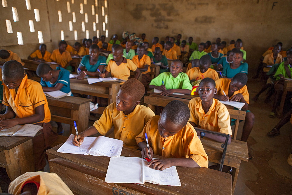 A classroom full of students learning at a primary school in Ghana, West Africa, Africa - 1270-148