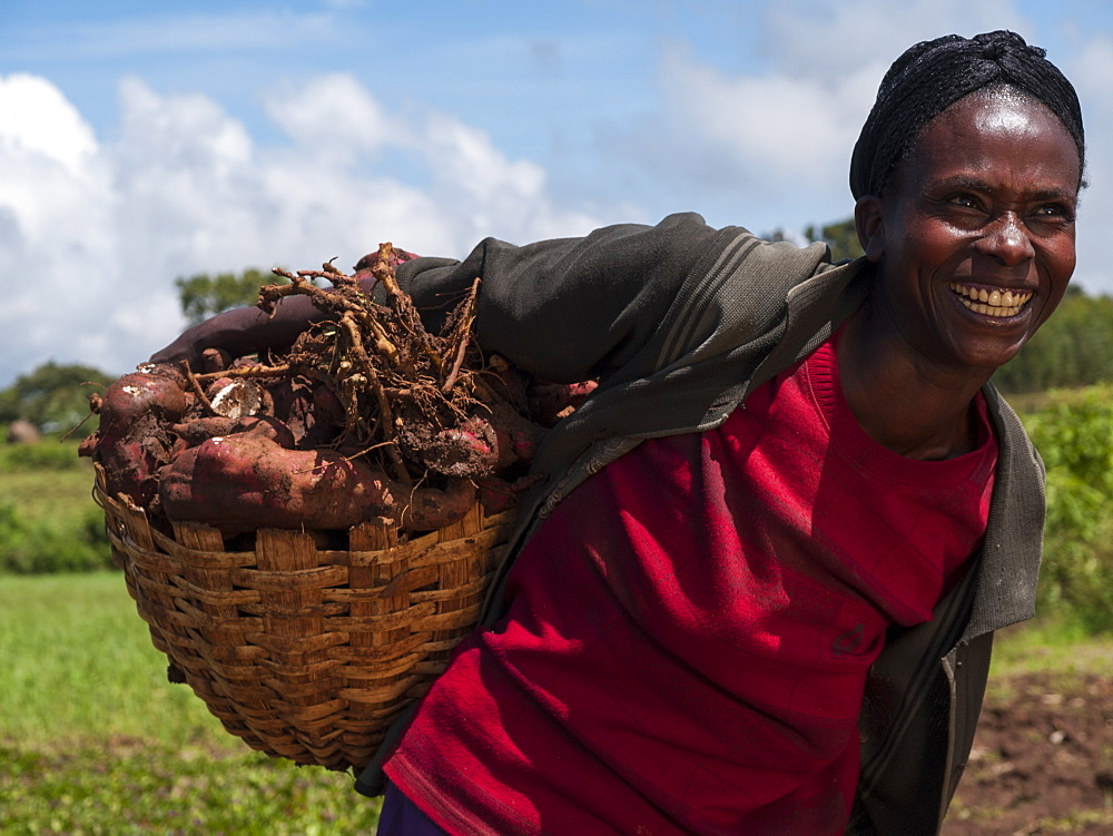 A woman smiling proudly with a basket of sweet potatoes.