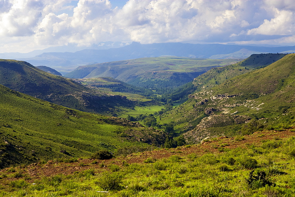 The mountains and valleys of Lesotho, Africa