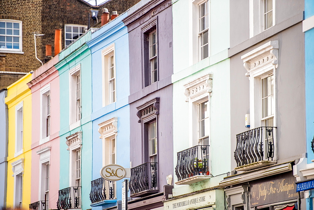 Portobello Road houses, Kensington, London, England, United Kingdom, Europe - 1272-121
