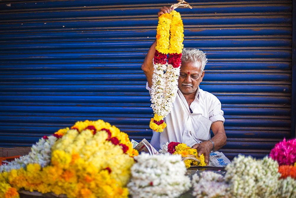 Selling flowers by a temple at at market in Munnar, Western Ghats Mountains, Kerala, India, Asia - 1272-210