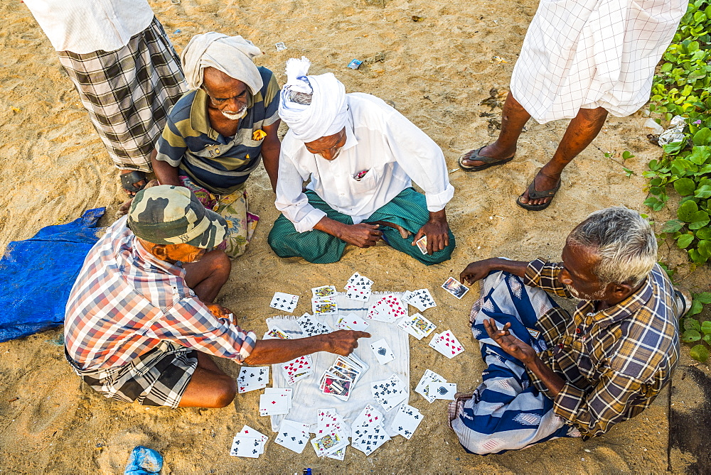 Fishermen playing cards at Kappil Beach, Varkala, Kerala, India, Asia - 1272-236