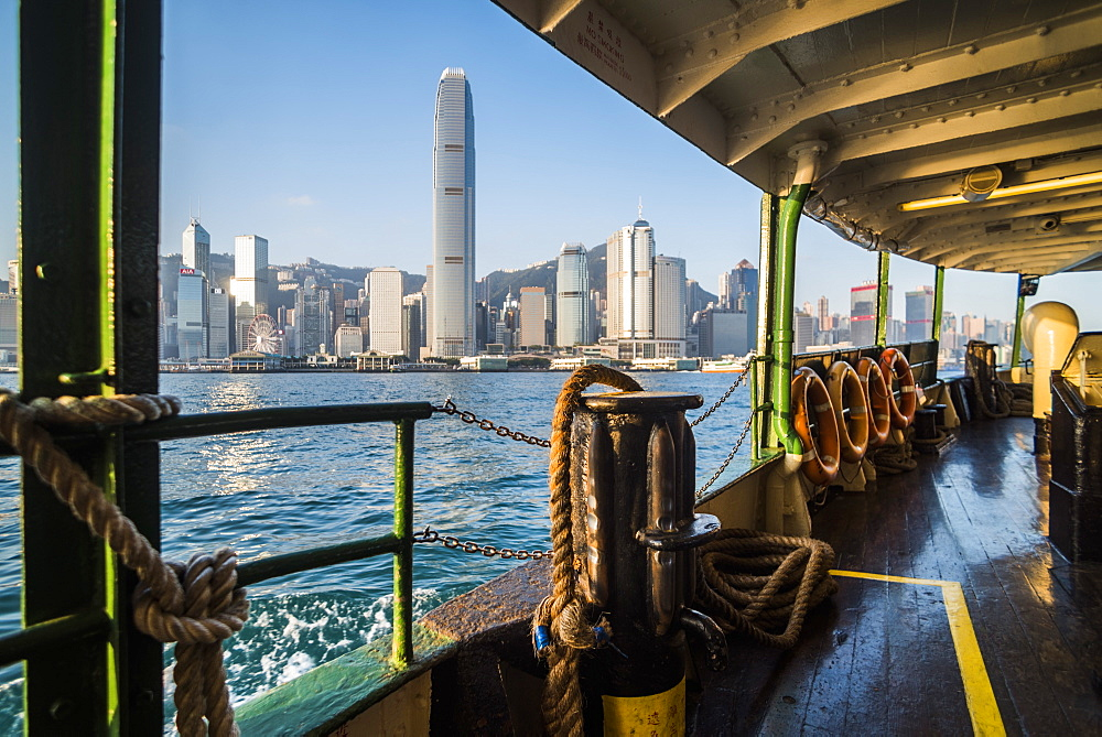Star Ferry at sunrise with Hong Kong Island behind, Hong Kong, China, Asia - 1272-268