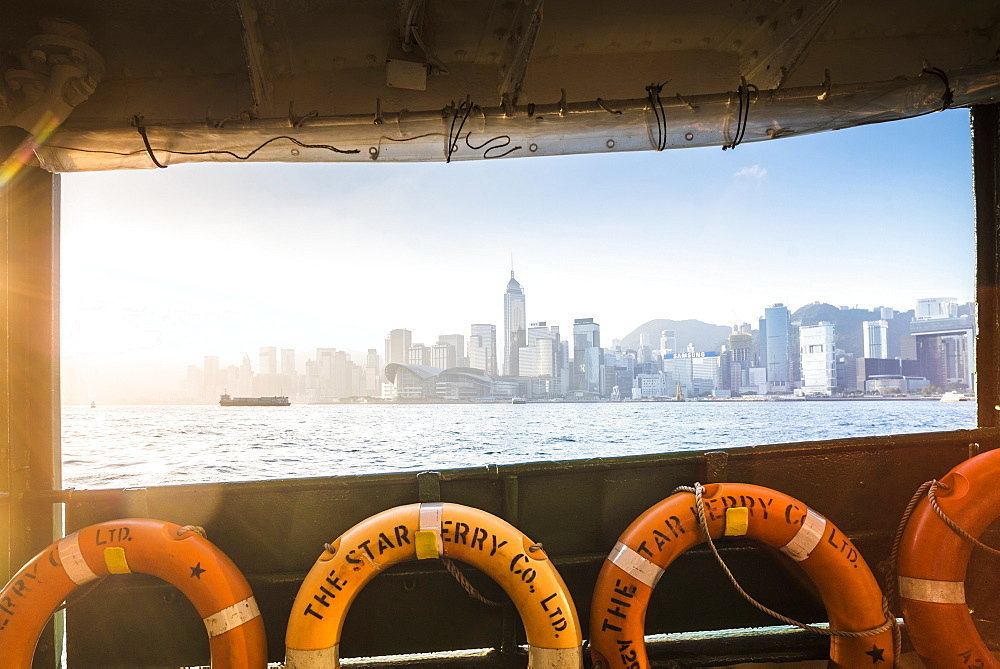 Star Ferry at sunrise with Hong Kong Island behind, Hong Kong, China, Asia - 1272-269