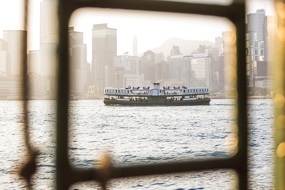 Star Ferry at sunset, between Hong Kong Island and Kowloon, Hong Kong, China, Asia - 1272-285