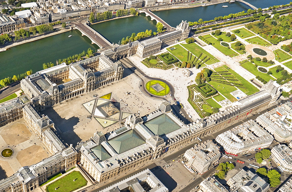 Aerial view of the Louvre, Paris France, Europe