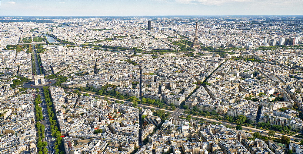 Aerial view of Paris with the Arc de Triomphe, the Eiffel Tower and the River Seine, Paris, France, Europe - 1274-12