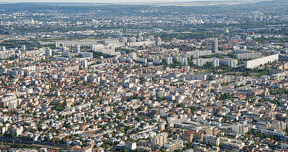 Aerial view of the neighbourhoods Colombes Bois-Colombes, Gennevillers and Asnières-sur-Seine, Paris France.