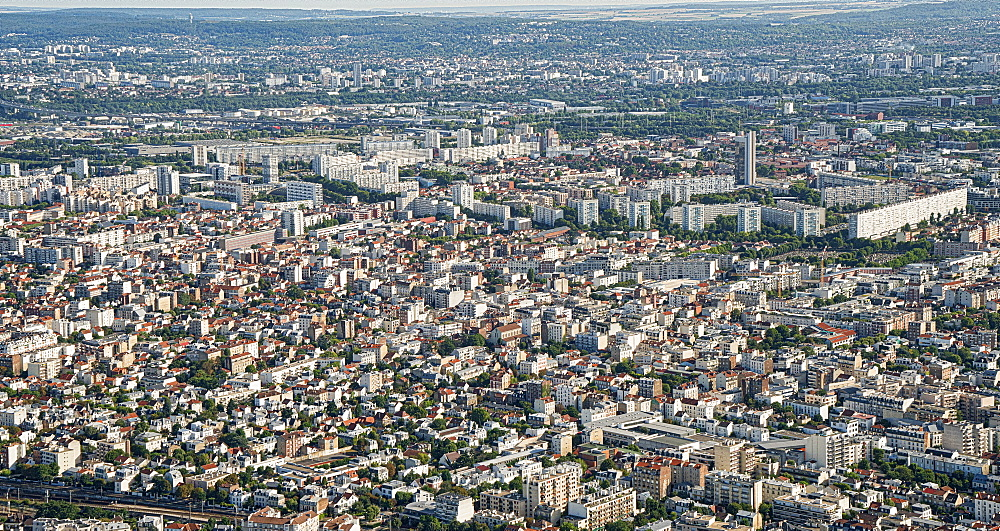 The suburbs of Paris with port area in the background and the huge flats in Ville de Gennevilliers, Paris, France, Europe - 1274-20