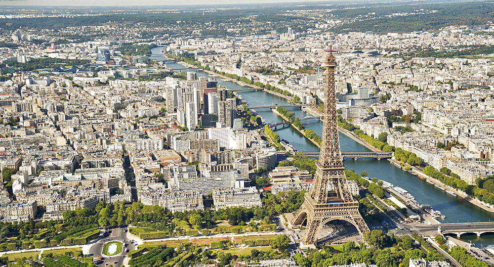 Aerial view of the Eiffel Tower with the river Seine, Paris France, Europe