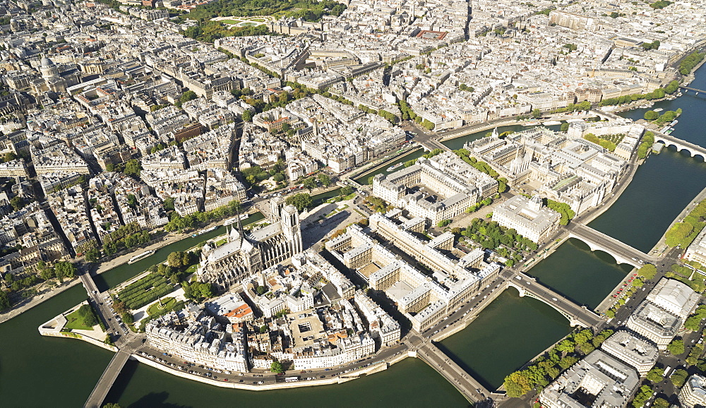 Aerial of Ile de la Cite with the Notre-Dame, Paris, France, Europe