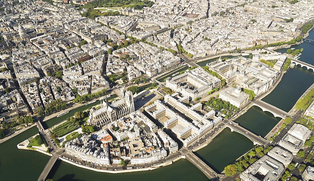 Aerial of véle de la Citv© with the Notre-Dame, Paris France.