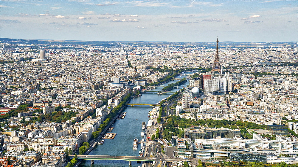 Aerial view of the Eiffel Tower with the river Seine, Paris, France, Europe - 1274-8