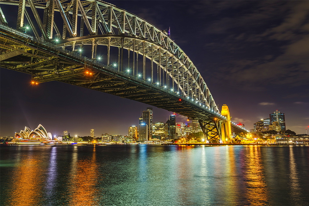 Night cityscape of Sydney, showing the city skyline, the Sydney Harbour Bridge and the Sydney Opera House, Sydney, New South Wales, Australia, Pacific - 1275-92