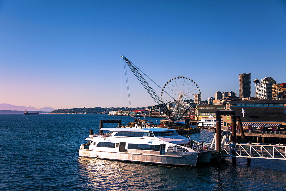 King County Water Taxi is about to leave docks, Seattle, Washington State, United States of America, North America