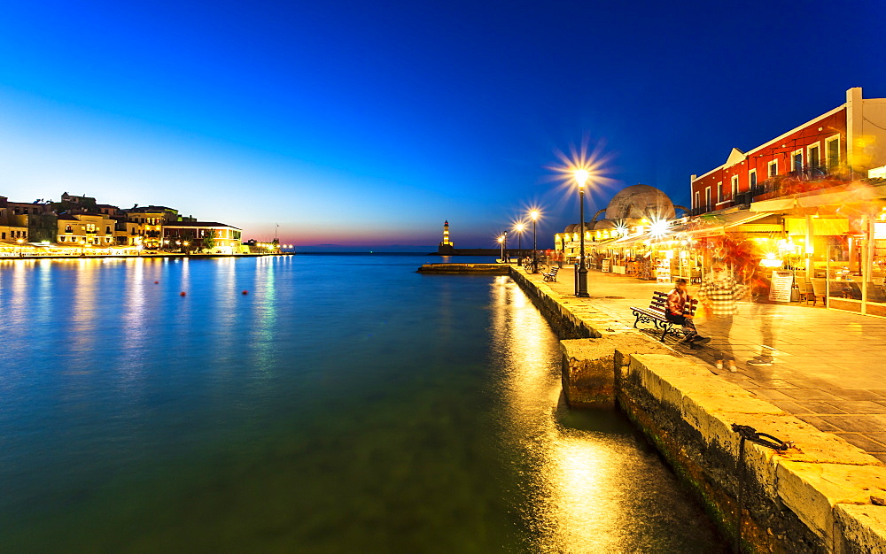 Lighthouse at Venetian port at night, Chania, Crete, Greek Islands, Greece, Europe