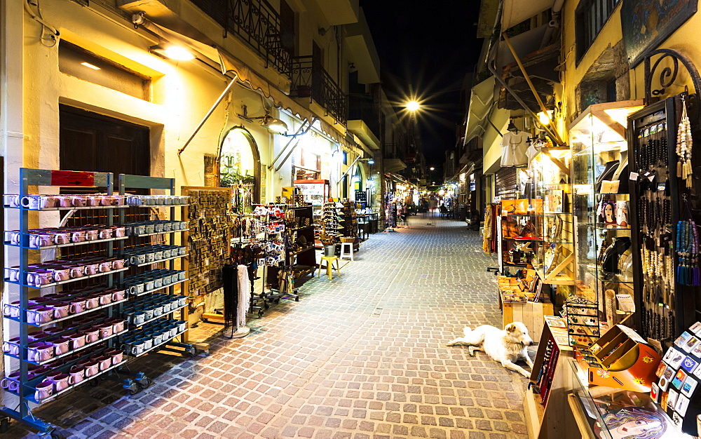 Tourist shopping street at night, Chania, Crete, Greek Islands, Greece, Europe