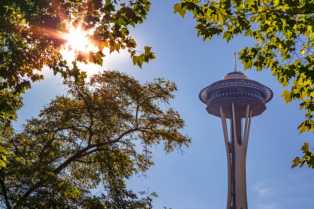 Top of Space Needle from Seattle's International Fountain Park, Seattle, Washington State, United States of America, North America - 1276-13